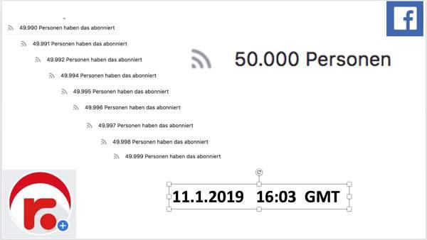 50.000 Abonnenten auf Facebook